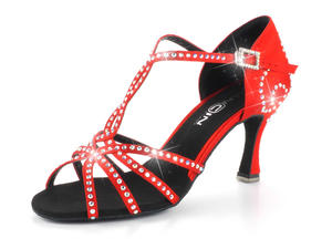 Tanzschuhe Damen ✅ Rot, Rosa, Pink, Steinbesatz, Glitzer